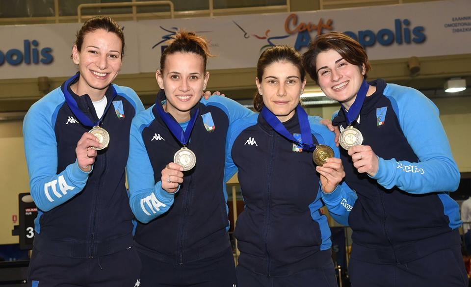 Sciabola femminile, Italia terza ad Atene