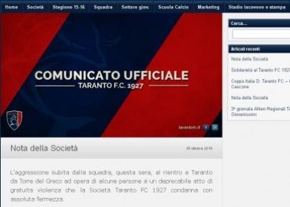 Serie D, Taranto: giocatori schiaffeggiati dai tifosi
