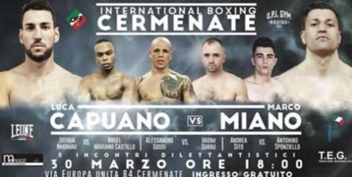 Boxe, Torna la OPI. Sul ring Capuano, Goddi, Nmomah e Sito, Nik Esposito, Scarpa e Mendizaba