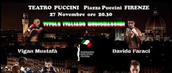 Boxe - Mercoledì a Firenze tricolore mediomassimi tra Faraci e lo sfidante Mustafa