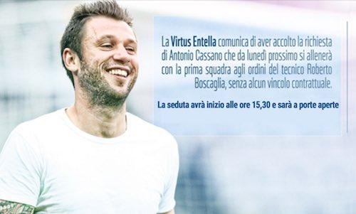 Virtus Entella, Cassano si allena con il club