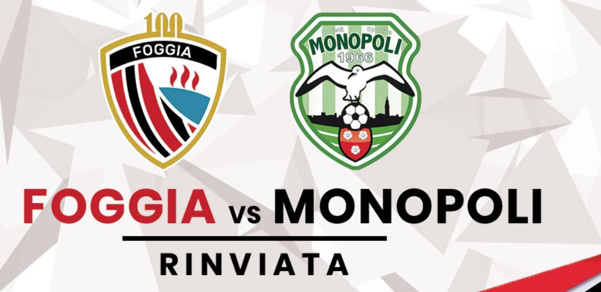 Annullato l'incontro Foggia-Monopoli per Covid