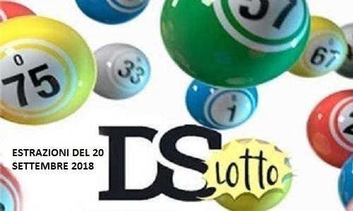 Estrazioni del Lotto di giovedì 20 settembre 2018 e Superenalotto: combinazione e jackpot. Live