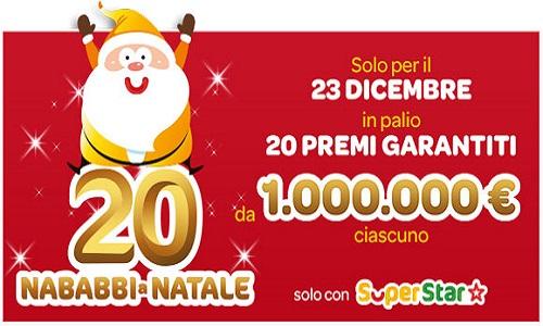 Superenalotto, 20 Nababbi a Natale: estrazione del 23 dicembre 2017. Live