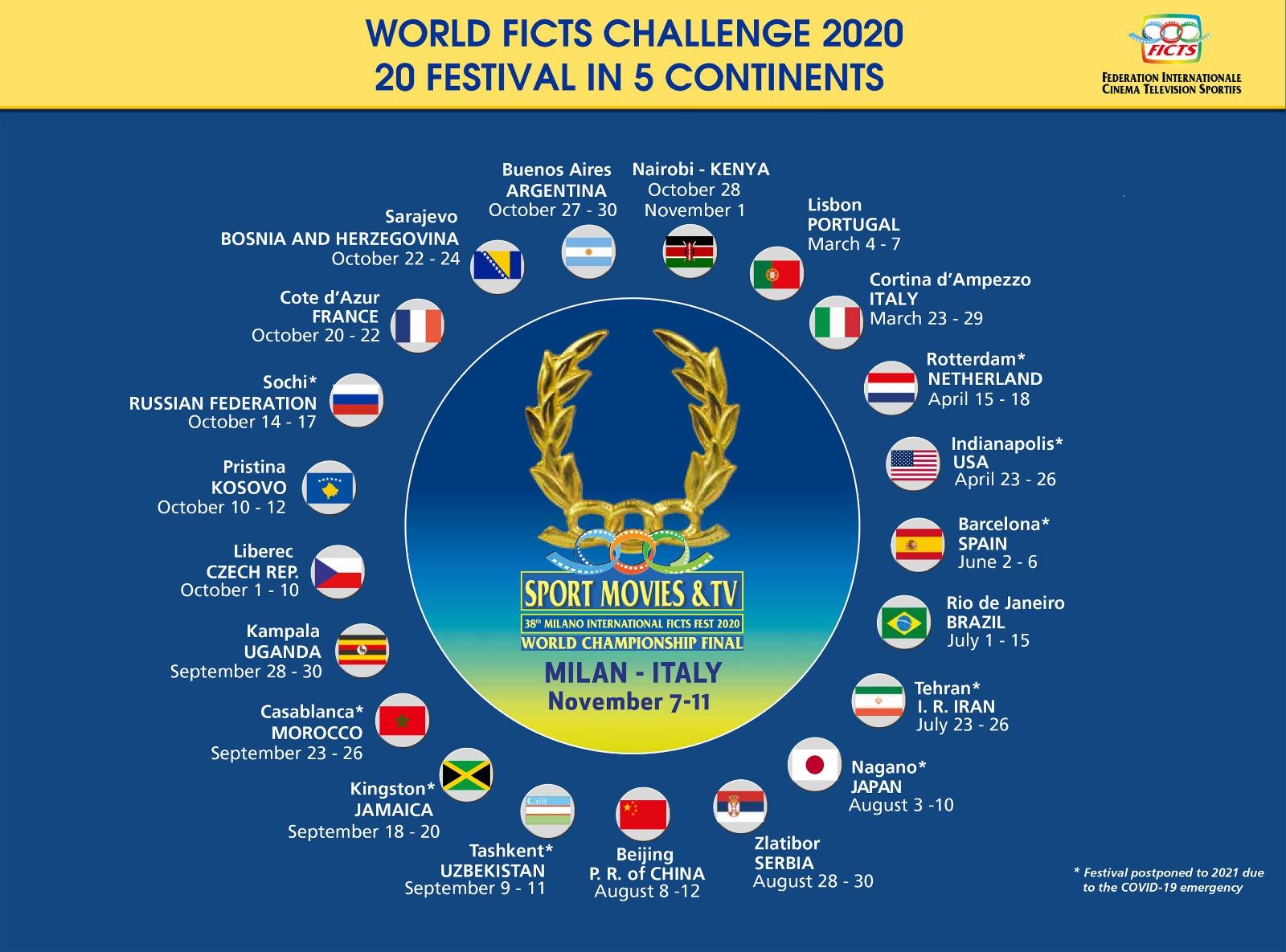 """IL CALENDARIO UFFICIALE DEI 20 FESTIVAL DEL """"WORLD FICTS CHALLENGE"""""""